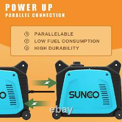 120V Portable Inverter Generator 3500W Peak Gas-Powered Super Quiet Blue Black