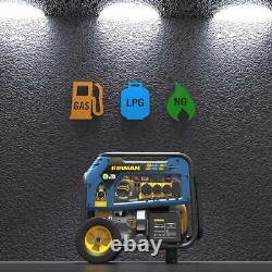 Firman Tri Fuel Portable Generator, 7500W Running / 9400W Peak (Gas, LP, NG) NEW