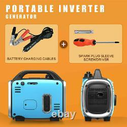 Portable Inverter Generator 800W Peak 120V Gas-Powered Ultralight Blue/Black
