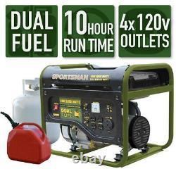 Sportsman 4000-W Portable Dual Fuel Gas Powered Generator Home Backup RV Camping